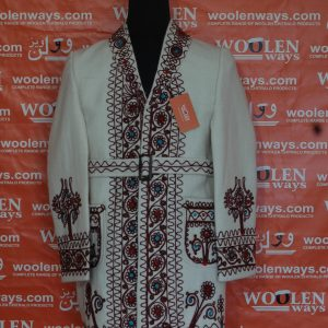 Ladies White Chugha With Brown Embroidery